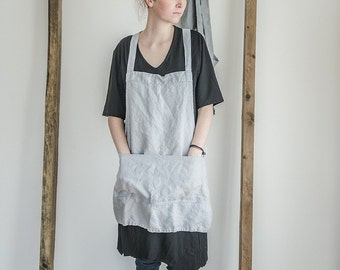 Short square cross linen apron/japanese style apron. Washed ice blue/silver grey, eco - friendly, handmade linen apron.