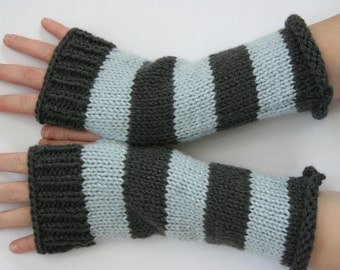 Blue and Grey Varsity Stripe Fingerless Gloves