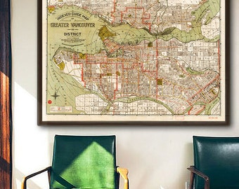 "Map of Vancouver 1924, Old Vancouver map in 4 sizes up to 54x36"" (140x90 cm) Greater Vancouver, BC, Canada - Limited Edition of 100"