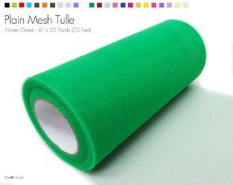 "Hunter Green Plain Nylon Mesh Tulle - 6"" x 25 Yards (75 Feet)"