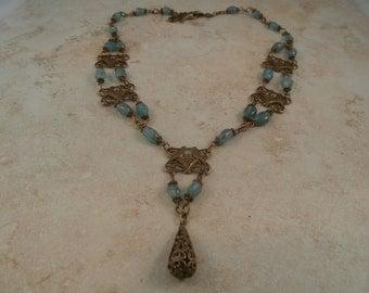 Apatite Bird Necklace in Antique Brass