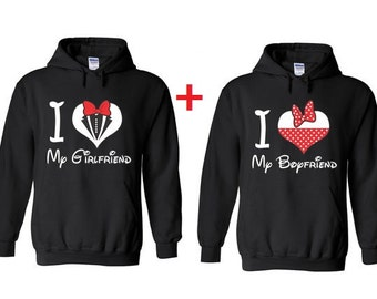 I love My Boyfriend and I love my Girlfriend Hooded Sweatshirt. Valentines Day Hoodies. Boyfriend and Girlfriend Hoodies