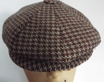 Vintage Men's Wool Cap in Check design studded peak button Top Brown Fawns Ivory