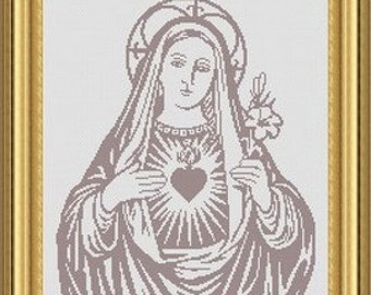 VIRGIN MARY/ vierge marie -Counted cross stitch pattern /grille point de croix ,Cross Stitch PDF, Instant download , free shipping