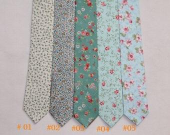 Floral Ties.Mens Ties.Groomsmen Ties.Wedding Neckties.Imprinted Neckties for Men.Cotton Neckties