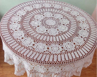 160 CM Round tablecloth handmade, hand crochet table cover Beige, handmade lace round table cover for home decoration