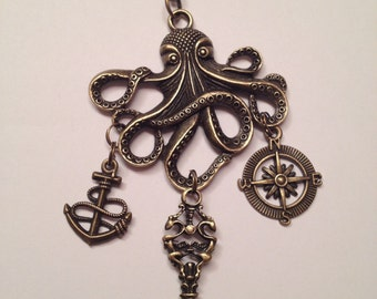Bronze Octopus Compass Anchor Key Chain Necklace