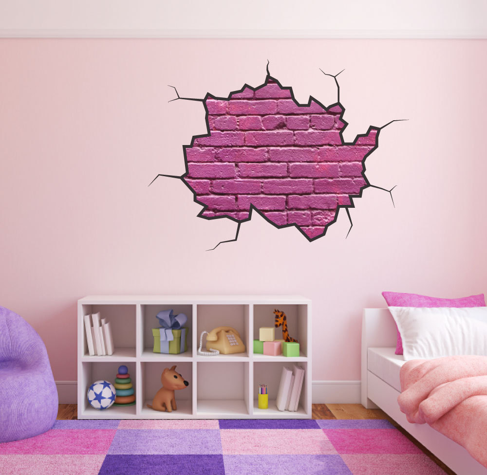 Cracked wall decal pink brick wall girls bedroom wall sticker for Brick wall decal mural