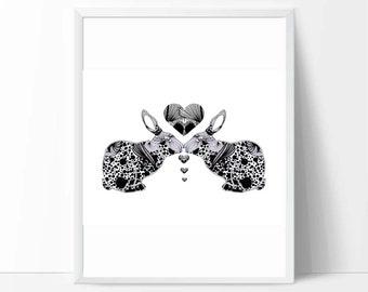 Printable art, black and white bunnies, printable wall art, downloadable print, baby birthday gifts, nursery decor, kids playroom