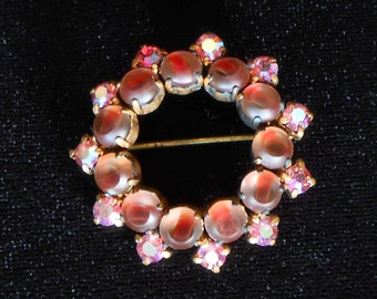 Vintage Germany Rhinestone Brooch Pink Crystals