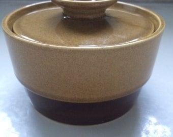"Ekco Genuine Stoneware, ""Canoe"" Lidded Sugar Bowl, Japan, Pattern 1102"