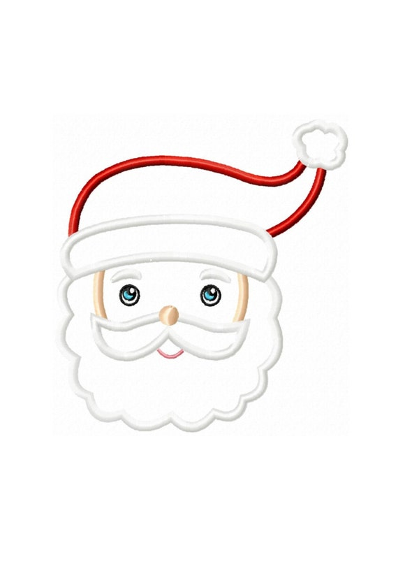 Santa face applique machine embroidery by hippityhopembroidery