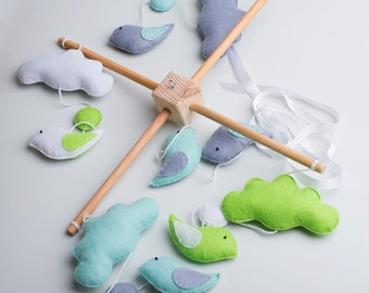 Blue and Gray Baby Mobile, Birds and Clouds Baby Mobile, Nursery Hanging Decor MADE TO ORDER