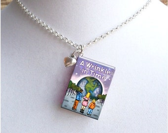 A Wrinkle In Time - With Tiny Heart Charm - Miniature Book Necklace