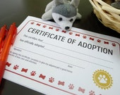 Puppy Dog Adoption Certificate Birthday Party Printable Available in Red and Pink - INSTANT DOWNLOAD