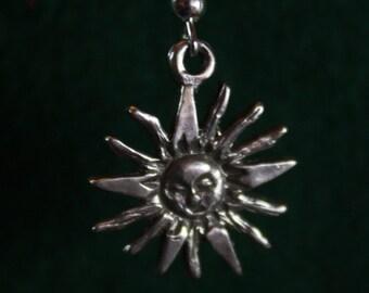 Sun wth Rays - Sterling Silver Dangle Earrings