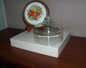 Vintage Cheese Board with Glass Dome. Teak Board is from Thialand and has a Ceramic Tile Center and a Glass Dome Lid.