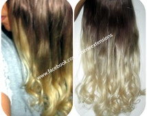 Ombre Balayage Human Halo Hair Extensions  Flip In Wire Couture    Colour 460 Medium  Platinum Blonde Colour 60