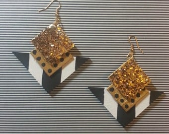 Gold Glitter and Black and White Stripe Earrings