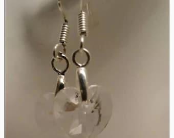 Swarovski clear heart earrings