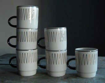Soviet Vintage Espresso Coffee Cup Set of 4 Russian Design Soviet Cup White with Black Handle and Golden Border USSR era 1970 s.