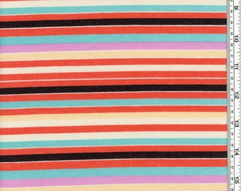 Colorful Stripes - Poly cotton jersey fabric by the Yard