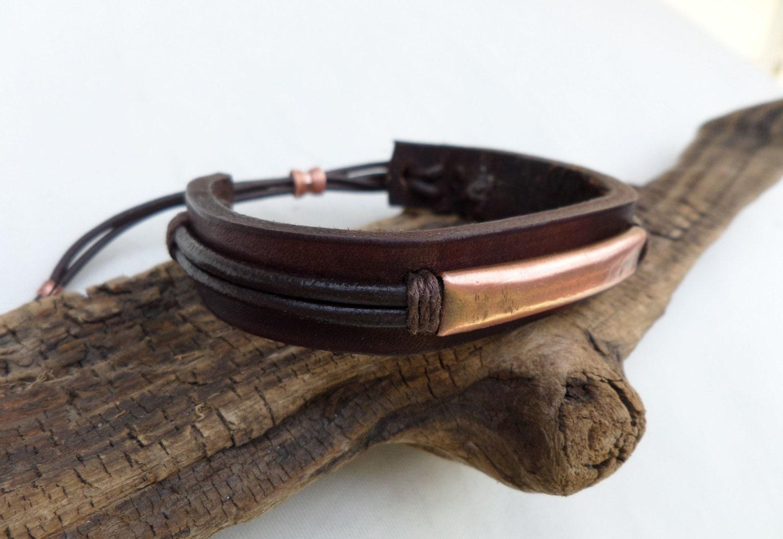 men 39 s leather and copper bracelet men 39 s by coletaylordesigns. Black Bedroom Furniture Sets. Home Design Ideas