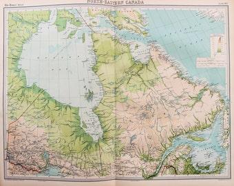Huge 1922 Antique Map, North America, North East Canada, Quebec, Ontario