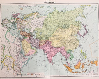 Vintage Map, Asia, Continent, Political, Countries. Published 1930, Lovely Colours