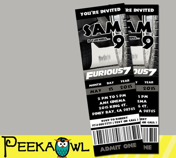 Printable Fast And Furious 7 Movie Invitation Ticket By