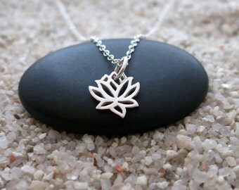 Tiny Lotus Flower Necklace, Sterling Silver Lotus Flower Charm, Yoga Jewelry, Dainty Necklace