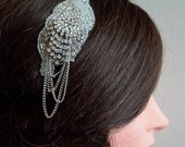 Art deco style Beaded bridal comb with sparkle