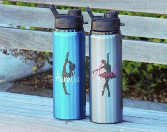 gymnastics water bottle, aluminum water bottle, ballet water bottle, personalized water bottle, dance water bottle, metal water bottles