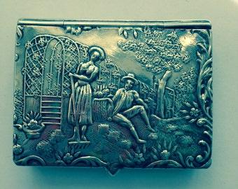 Antique sterling silver match safe, pastoral scene