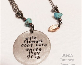 Extra long wildflowers necklace in artisan pewter with turquoise detail