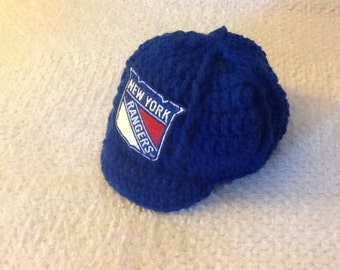 NY RANGERS Hockey Newborn Crochet Baseball Cap - Photographer Prop