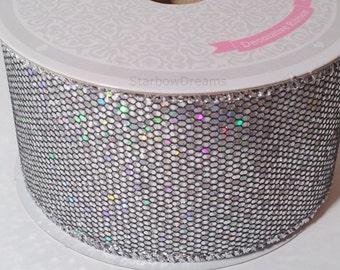 """2"""" Silver Metallic Bling Sparkling Disco Ribbon 10 Yards"""
