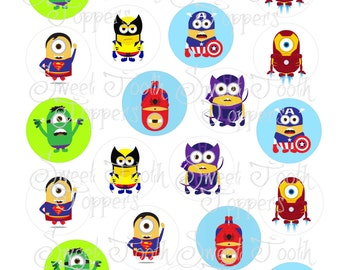 Super Hero minion - 21 round edible image toppers