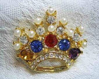 Vintage Large Rhinestone Simulated Pearl Crown Brooch
