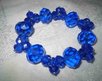 Stunning Sapphire Blue Faceted Cut Crystal Bracelet