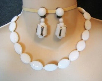 Vintage White Milk Glass Necklace & Earrings