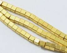 100pcs Brass Cube Beads in Gold, 3mm Wrap Bracelet Beads, Loose, Spacers, Square #SD-S7145