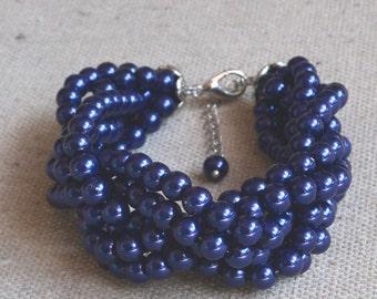 pearl bracelet,6 strands pearl bracelet, navy blue pearls bracelet,bridesmaids bracelet,glass pearls bracelet,wedding pearl bracelets