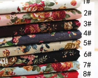 Floral fabric,rose flower print linen fabric,cotton linen fabric,floral curtain fabric,girls fabric,women thin dress fabric,summer fabric