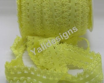 U Pick 1 or 5 or 10 Yards Yellow 3/4''  Picot Edge Stretch Lace, Frilly edges elastic webbing,Lace for Headbands,Wholesale Headbands YTA35F