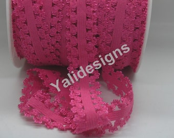 U Pick 1 or 5 or 10 Yards Rose 3/4''  Picot Edge Stretch Lace, Frilly edges elastic webbing,Lace for Headbands,Wholesale Headbands YTA35D