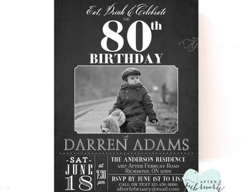 ANY AGE // Adult Birthday Invitations for Men Birthday Party Invitation Black and White Birthday Printable No.507BDAY