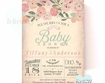 Baby Shower Invitation - Vintage Peach Background - Muted Pink Coral Peach - Typography - Printable No.538