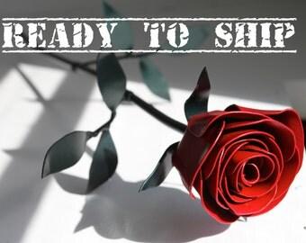 READY TO SHIP:  Metal Rose, Red Rose, Long Stem, Life-Size