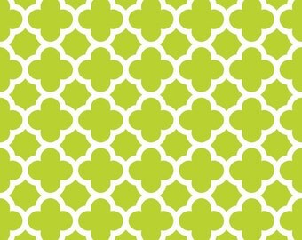 Riley Blake lime quatrefoil fabric by the yard, Christmas fabric, Easter fabric, Summer fabric, sewing quilting apparel fabric, Lime fabric